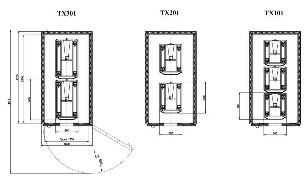 Схемы размещения тележек в ШР «Климат-АГРО 12/24М»