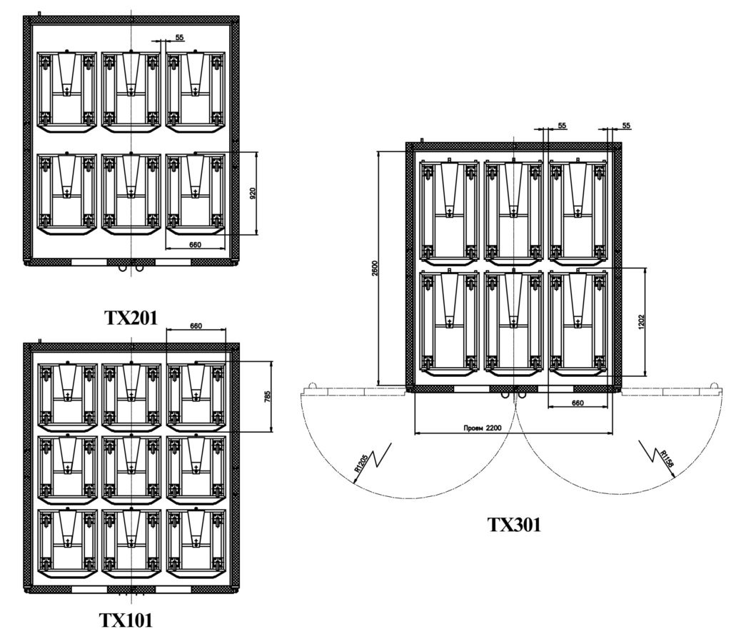 Схемы размещения тележек в ШР «Климат-АГРО 24/24М»