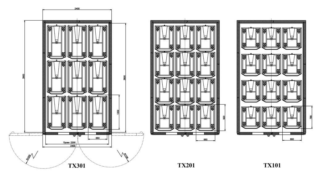 Схемы размещения тележек в ШР «Климат-АГРО 24/36М»