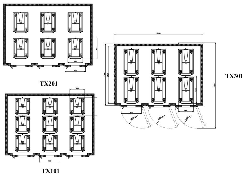 Схемы размещения тележек в ШР «Климат-АГРО 36/24М»