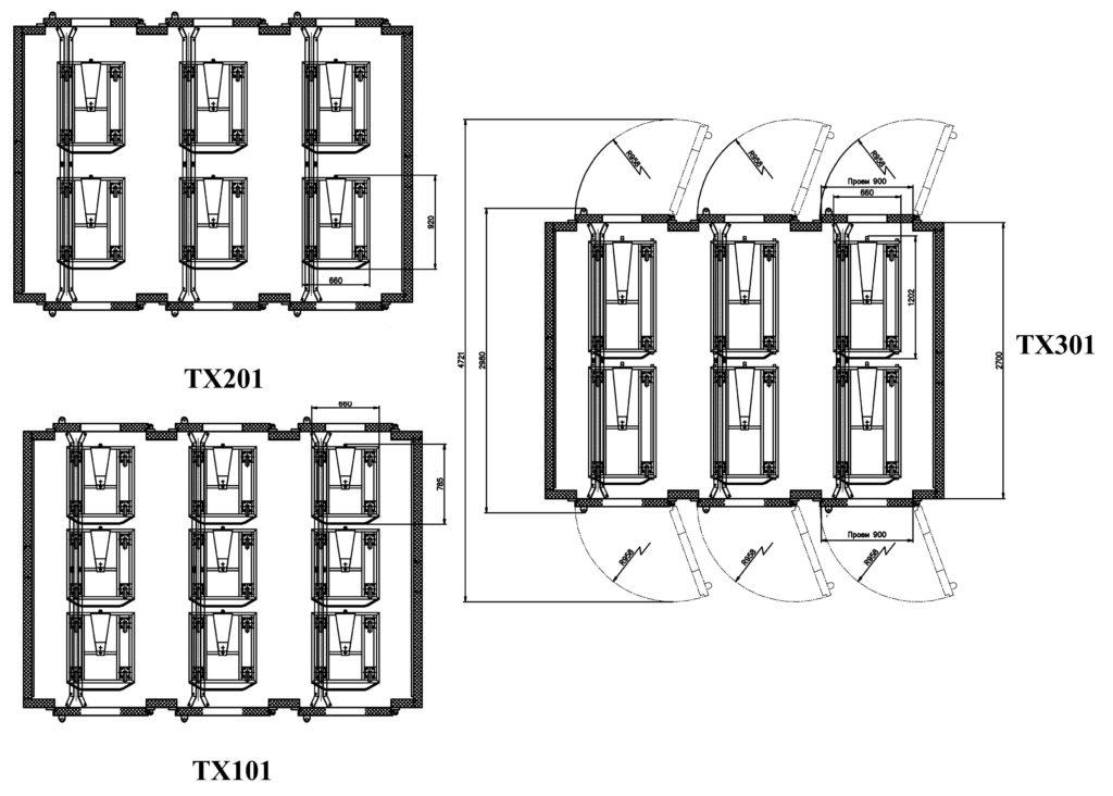 Схемы размещения тележек в ШР «Климат-АГРО 36/24ТМ»
