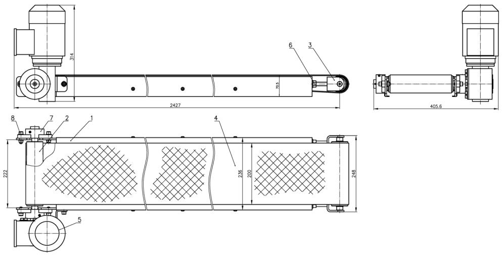 Общий вид и устройство отводящего транспортера