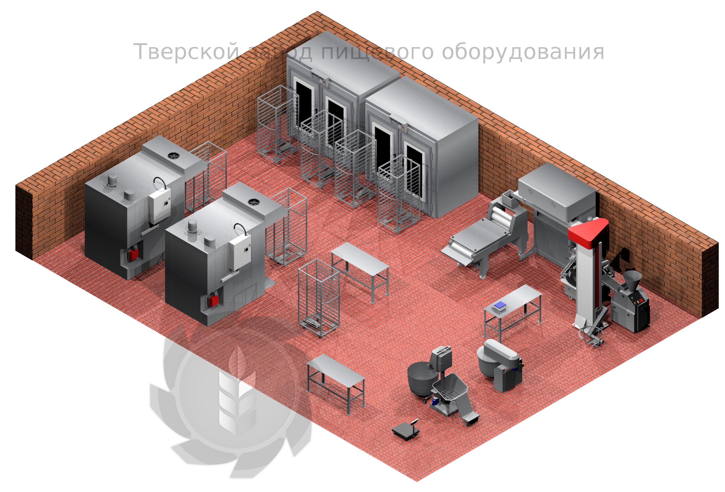 Пекарня Волга 3000 газовая (3000 кг в смену), комплектация Люкс, на основе печи Ротор-Агро