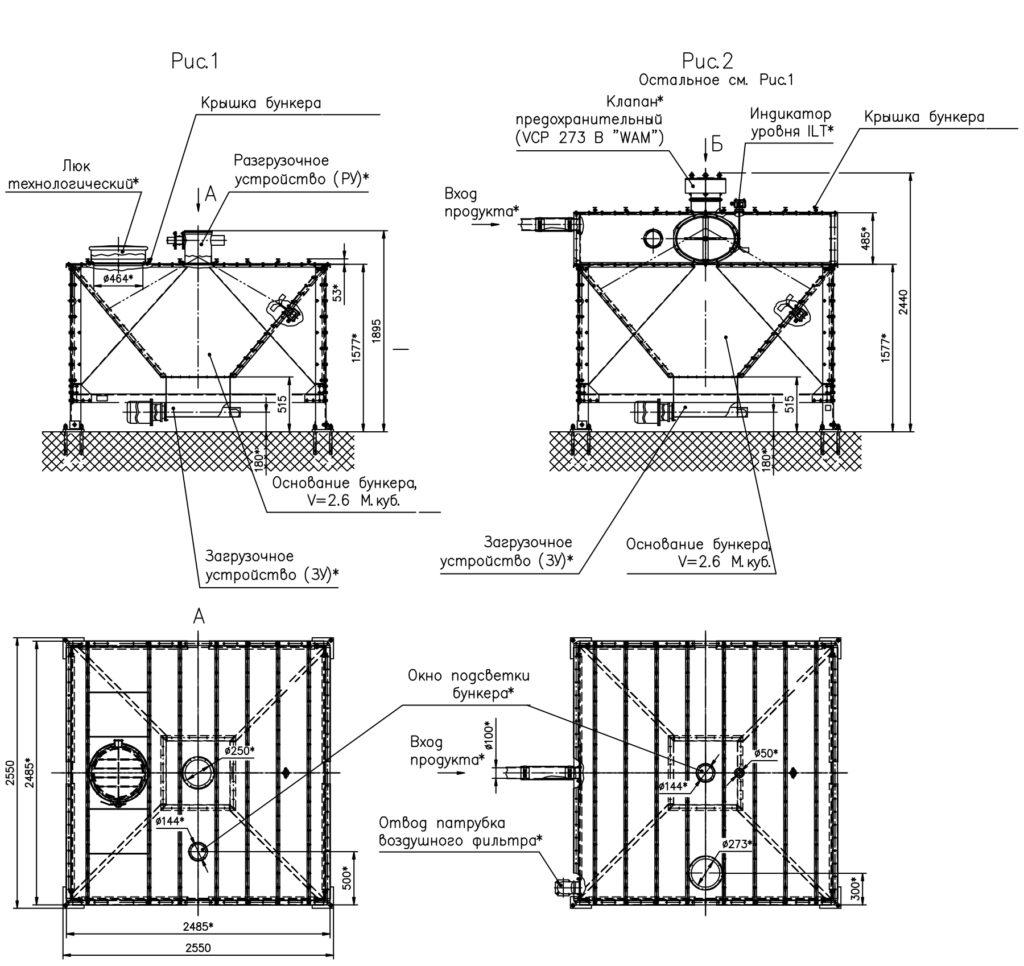 Бункер модульный - Рисунок 1 и 2