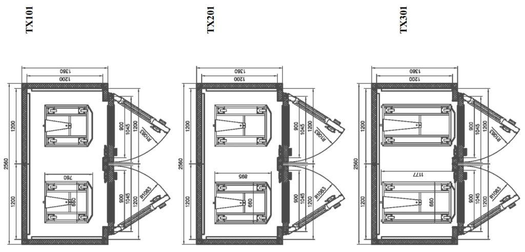 Схемы размещения тележек в ШР «Климат-АГРО 24/12» и «Климат-АГРО 24/12-01»